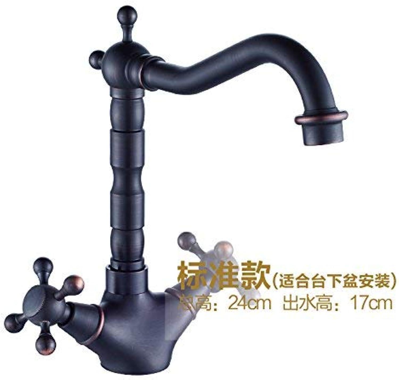 ZHAS Waschbecken Leitungswasser Mischbatterie Schwarz antikes Kupfer heien und kalten Wasserhahn kann gedreht Werden, die Standard-Abschnitt
