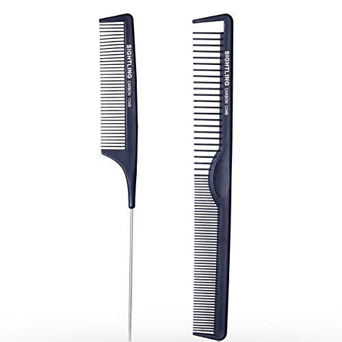 SIGHTLING Kit Haarkamm & Nadelstielkamm Carbon Kamm für Haare & Bart, Antistatischer Haar Kamm Friseur Zweiseitig Styling für Männer und Frauen