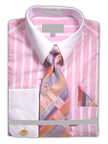 Sunrise Outlet Men's Wide White Stripe Dress Shirt with Neck Tie Hanky Cufflinks - Pink 16.5 36-37