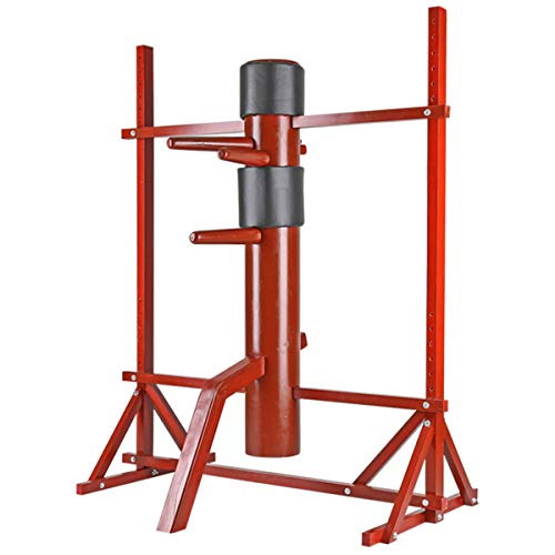 Flex HQ Adjustable Height Wing Chun Dummy Mook Yan Jong IP Man Training Target Red with Frame Stand