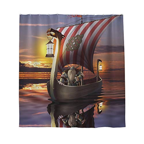 Firelife Wikinger Nordisch Pirat Duschvorhang Anti-Schimmel Wasserdicht Waschbar Polyester Segelschiff Shower Curtains mit Haken Bunt 120x200cm
