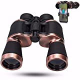 ZEBHAAM 20x50 High Power Binoculars for Adults with Low Night Vision Binoculars Waterproof Hunting Traveling Outdoor BAK4 Prism FMC Lens, Phone Adapter Strap and Case