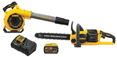 DEWALT DCKO667X1 60V MAX Brushless Chainsaw/Blower Combo Kit, Yellow/Black