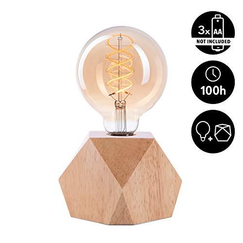 CROWN LED Tischlampe Vintage Batteriebetrieben - Design Tischleuchte aus Holz Farbe Eiche hell E27 Fassung inkl. Retro Edison LED Glühbirne EL19