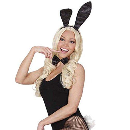 NET TOYS Set de Lapin Costume de Bunny 3 pièces Oreilles de lapinou nœud Papillon Queue Costume Sexy de Lapin Playboy déguisement Carnaval Femmes Sexy