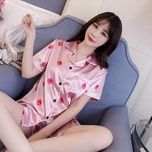 ZZJHH Pijamas Estampados para el hogar, Traje de Dormir Informal, Ropa Interior de Manga Corta, Pijama de satén, Rosa D, XXL
