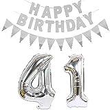 2 globos con el número 41 plateados + guirnalda de cumpleaños + banderines plateados para 41 cumpleaños, decoración para hombres y mujeres, 41 globos y 41 cumpleaños