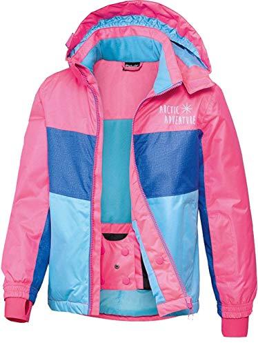 Crivit Mädchen Schneejacke Skijacke Snowboardjacke Wind und Wasserdicht (134-140, Pink-Blau)