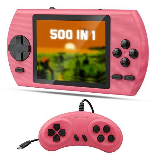 ETPARK Handheld Spielkonsole, Retro Spielekonsole mit 500 Klassische Spielen 3.5-Zoll-LCD Bildschirm, Retro Konsole Unterstützt das TV-Verbindung und 2 Spieler, Bestes Geschenk für Kinder Erwachsene