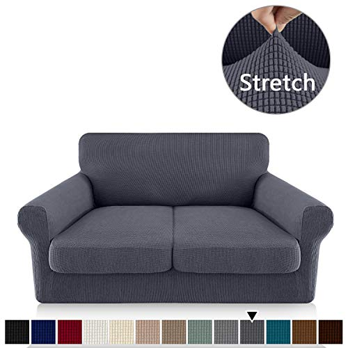 FAHUA 3 Piece High Stretch Couch Covers for 2 Cushion Couch Soft Sofa Cover with Separate Cushion Cover Form Fit Sofa Slipcover Furniture Protector Machine Washable (Medium, Gray)