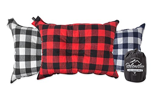 Big & Cozy Camp Pillow | Extra Large 20 in. by 14 in. Inflatable Travel/Camping Pillow with Soft Microfiber Flannel | The Big Ezzz by Relentless Recreation - Blue Flannel