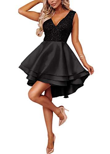Aleumdr Femme Mini Robe de Cocktail Evasé à Paillettes Robe de Soirée - Noir - S