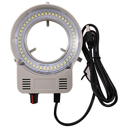 Tiamu Microscopio Cámara 48 LED Perlas Fuente de luz, Cámara LED Industrial con Luz de Anillo LED, Brillo Ajustable