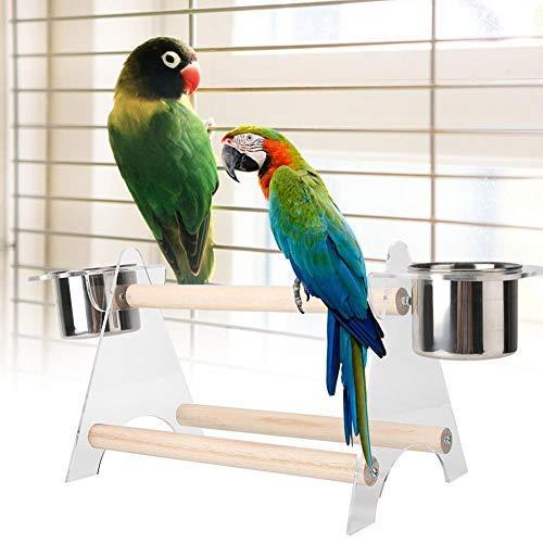 HEEPDD Vogelstandaard Draagbare Stabiele Houten Perch Papegaaien Training Station Cup Voedsel Chassis Lade voor Macaw Afrikaanse Grijzen Budgies Cockatoo Parakeet Cockatiel Conure Lovebirds
