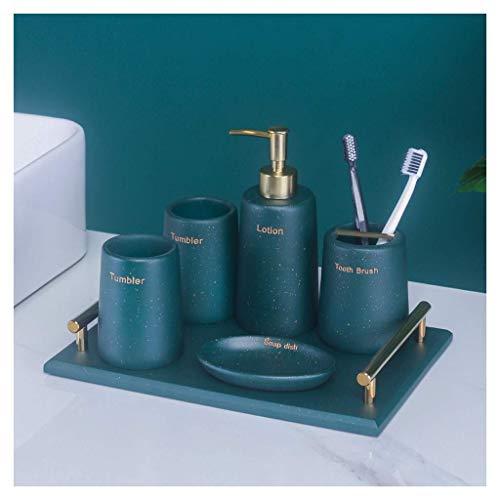 LSNLNN Conjuntos de Accesorios de Baño, Resina Moderna Accesorios de Baño Conjunto Decoración Del Hogar Accesorios de Baño Baño Baños Accesorios de Baño,Verde Oscuro,Traje de Seis Piezas