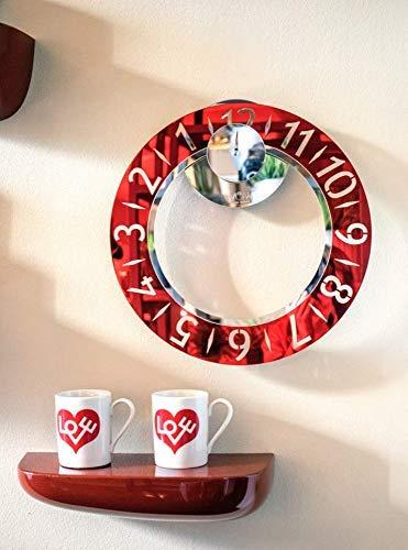 Design horloge unique au monde – Lecture innovante – Horloge murale élégante et moderne – Wow Clock Design – 100 % fabriquée en Italie – Couleur rouge Moon miroir