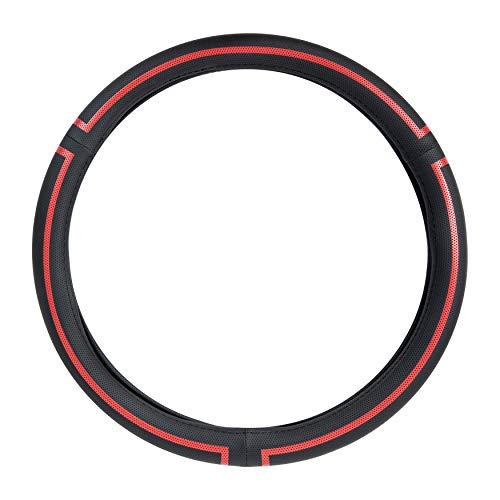 AmazonBasics - Cubierta para volante de cuero sintético, 38 cm (38,1 cm), negro y rojo