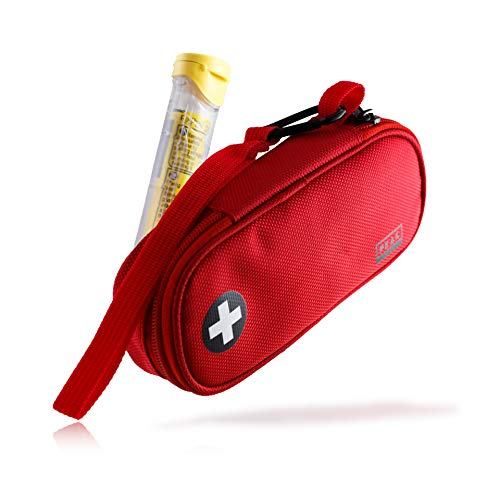 Peak Gear EpiPen Carrying Case - Medicine Travel Bag with Lifetime Lost & Found Service (Red)