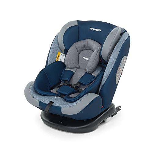 Foppapedretti Iturn duoFIX Seggiolino Auto Girevole 360°, Gruppo 0+ 1 2 3 (0-36 kg), per bambini dalla Nascita a 12 Anni, Sky