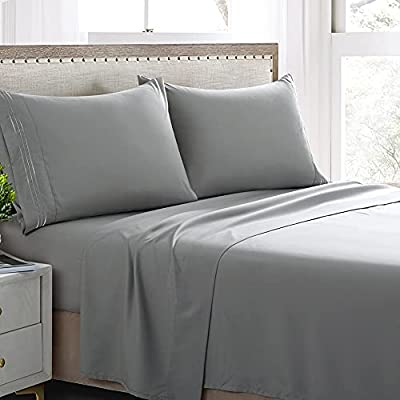Grey Queen Sheet Set -4 Piece Hotel Bed Sheets-Microfiber 1800 Thread Count Sheet Sets-Deep Pocket Queen Sheets-Wrinkle and Fade Resistant (Grey, Queen)