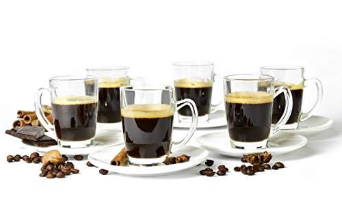 Sendez 12tlg Espressotassen mit Porzellan Teller Espressogläser Espresso Glas Mokkatassen