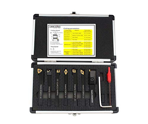 Accusize Industrial Tools 1/4'' Shank 7 Pc Indexable Carbide Turning Tool Set in Fitted Box, 2387-2001