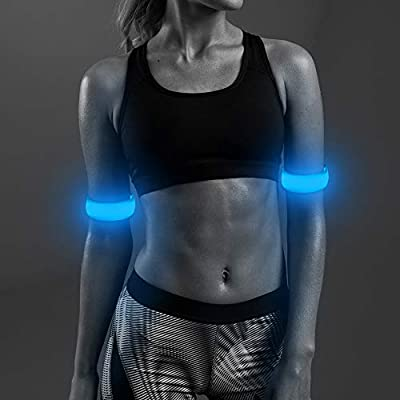 Ezer LED Armbands, Pack of 2 PCS Glowing Sports Event Wristbands with Elastic Band, Reflective Running Gear Light Up Flashing Arm Bands, for Runners, Joggers, Cyclists (Sky Blue)