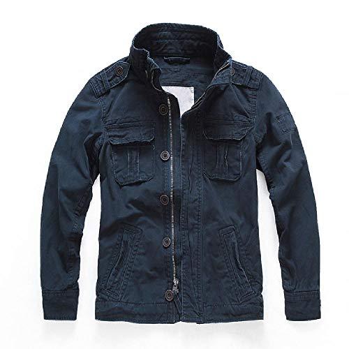 NOBRAND Chaquetas de combate de camuflaje para hombre, bolsillos militares, abrigos de ejército, cuello de pie, ropa exterior de algodón, chaqueta táctica masculina