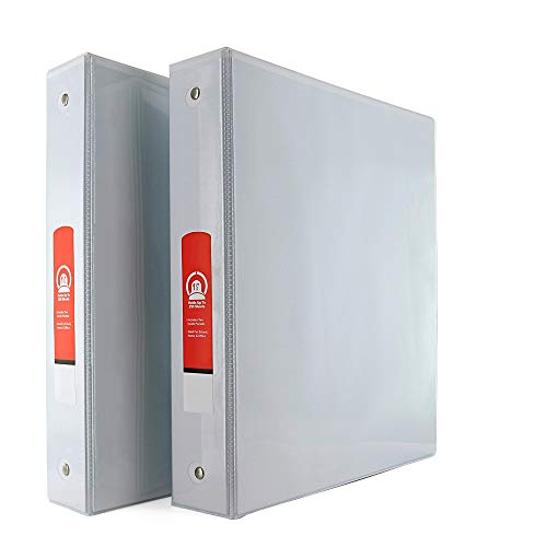 """Emraw Super Great 1 1/2"""" 3-Ring View Binder with 2-Pockets - Available in White - Great for School, Home, & Office (2-Pack)"""