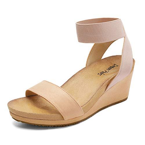 DREAM PAIRS Women's Nude Open Toe Elastic Ankle Strap Platform Wedge Sandals Size 7 M US Nini-5