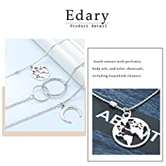 Edary Boho Layered Necklace Moon Necklaces Map Pendant Silver Chain Jewelry for Women and Girls #4