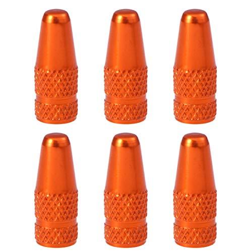 VORCOOL 6 Stücke Fahrrad Aluminiumlegierung Französisch Ventilkappen für MTB Rennrad Mountainbike Reifen Luftventilkappen Staubabdeckungen (Orange)