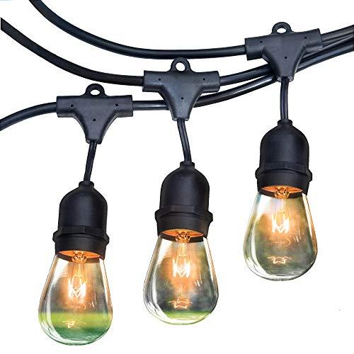 RZSAIDA Light Outdoor String Lights 48 ft Thick Bulb with Hanging Sockets Weatherproof Commercial Grade Bistro Backyard Market Patio Cafe Porch Garden Deck Gazebo Pergola Balcony Exterior Strand