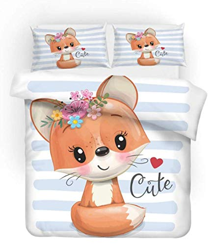 3D Digital Print Bedding Sets Cartoon Fox Printed Bedding Quit Cover With Zipper Closure For Adults, Soft Microfiber Bedding (3 Pieces) 135Cmx200Cm