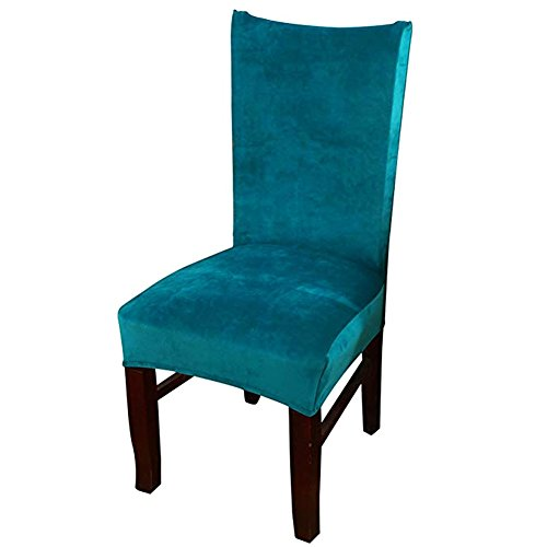 smiry Velvet Stretch Esszimmer Stuhlhussen, Weiche abnehmbare waschbar Esszimmerstühle Schonbezüge, 2er Set, Pfauenblau
