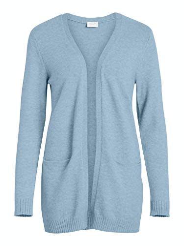 VILA CLOTHES Damen VIRIL L/S OPEN KNIT CARDIGAN-NOOS Strickjacke, Ashley Blue/Detail:MELANGE, L