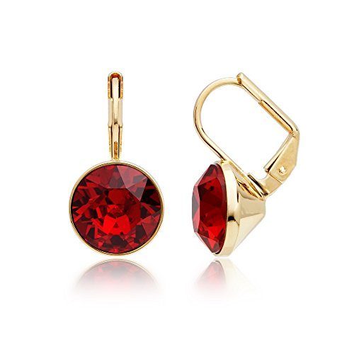 MYJS Bella Earrings with 4 Carat Ruby Swarovski Crystals Gold Plated