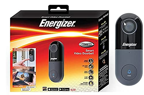 Energizer Connect 1080p Video Doorbell, Home Security  Requires Existing Doorbell Wires, Not Battery Powered, 2-Way Audio, Local & Cloud Storage, Remote Access, Night Vision, iOS & Android Smart App