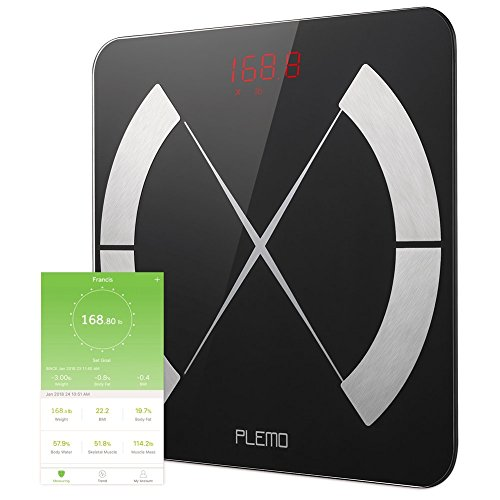 Bluetooth Body Fat Scale, PLEMO Smart Body Composition Scale, Body Weight Scale, Smart BMI Scale Digital Bathroom Weight Scale, Body Composition Analyzer with Smartphone App