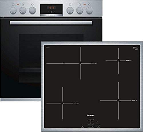 Bosch HND415LS65 Herd-Kochfeld-Kombination (Einbau) / A / 59,4 cm / Edelstahl / Backwagen / GranitEmail / Induktion / roter LED-Display / Umlaufender Rahmen
