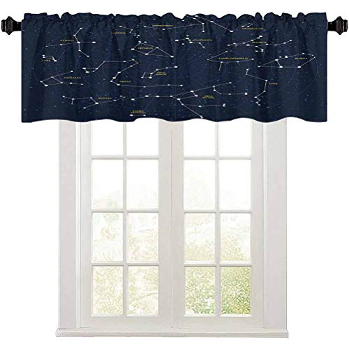 Constellation Curtain Valance, Sky Map Andromeda Lacerta Cygnus Lyra Hercules Draco Bootes Lynx, 1 Panel 54' W x 18' L Windows Rod Pocket for Living Room, Dark Blue Yellow White