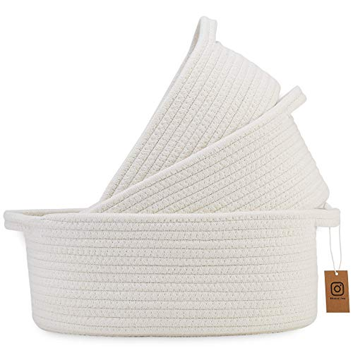 NaturalCozy 3-Piece Cotton Rope Baskets with Handles - 100% Natural Cotton! Oval Woven Storage Basket Set, Toy Basket, Small Soft Baby Nursery Baskets, Cat Dog Toy Basket, Gift, Bathroom (Off White)