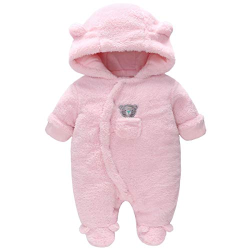 Vine Traje de Nieve Bebé Niños Niñas Ropa de Invierno Peleles Fleece Mameluco con Capucha Cálido Monos, Rosa 9-12 Meses