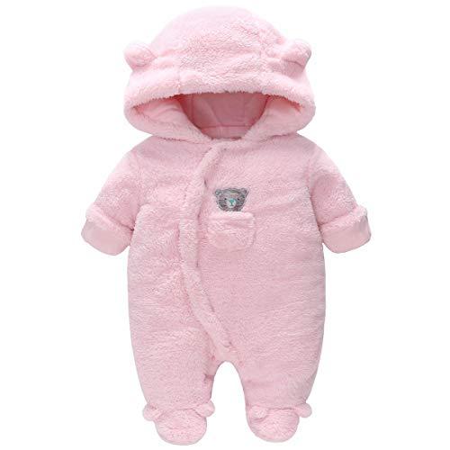 Vine Traje de Nieve Bebé Niños Niñas Ropa de Invierno Footed Peleles Mameluco con Capucha Cálido Monos, Rosa 0-3 Meses