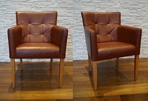 Quattro Meble Breite Echtleder Esszimmerstühle Glanz Braun Leder & Massivholz Stühle Kross Arm Pik Lederstühle Sessel mit Armlehnen Echt Leder Esszimmer Stuhl