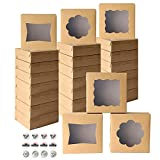 """24pcs Cookie Boxes with Window, 8' x 8' x 2.5"""" Brown Bakery Treat Boxes with Stickers for Pastries, Cupcakes, Cookies, Donuts by QIFU (Brown Bakery Boxes)"""
