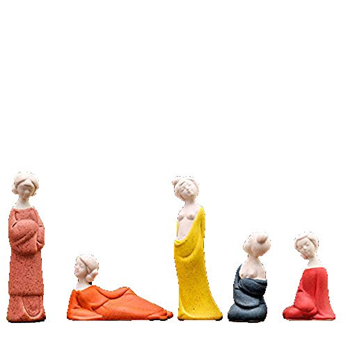 Fashion158 5-delige set Fijn keramiek dames klassieke stijl cijfers kleine ornamenten celadon meid thee huisdier thee spelen moderne huis Chinese ornamenten