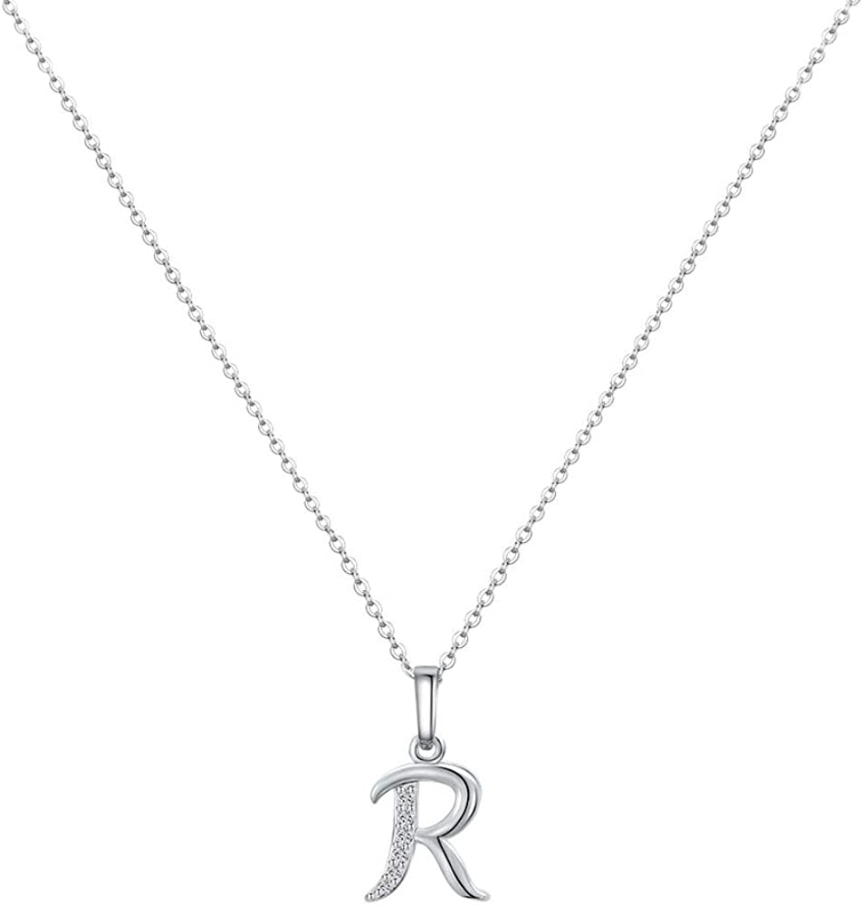 MONOZO Initial Necklace for Women Max 78% OFF Girls 14K OFFer D White Gold Plated