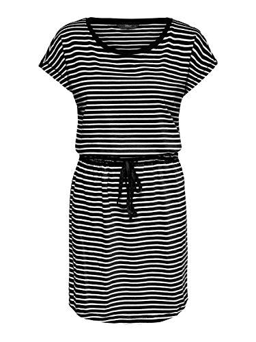 ONLY Damen Kleid onlMAY S/S Dress NOOS Kurzarm Sommerkleid Shirtkleid Streifen (schwarz weiß gestreift, XS)