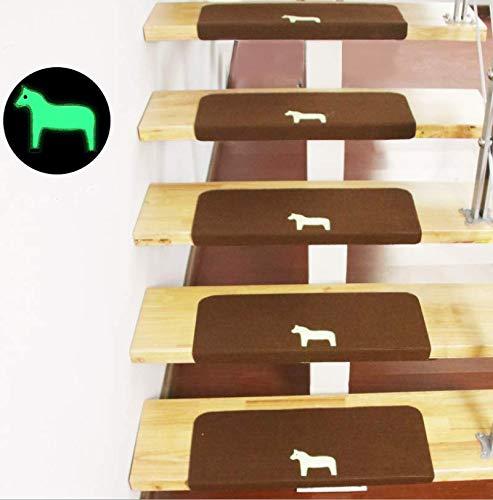 Marbeine Leucht-Teppich, Treppenstufen, beleuchtet, selbstklebend, ohne PVC-Kleber, Rutschfest, 5 Stück, braun, L